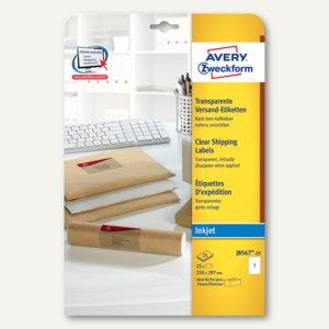 Zweckform Adress-Etiketten, 210 x 297 mm, Inkjet, transparent, 25 Stück,J8567-25