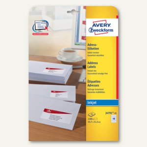 Zweckform Adress-Etiketten für Inkjet, 45.7 x 21.2 mm, weiß, 1.200 St., J4791-25