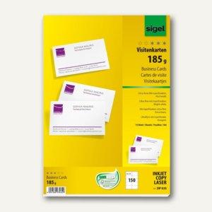 Sigel PC-Visitenkarten, 180 g/m², 85x55mm, hochweiß, 150 Stück, DP830