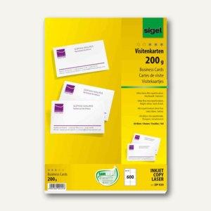 Sigel PC-Visitenkarten, 200 g/m², 85x55mm, hochweiß, 600 Stück, DP939