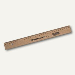 Standardgraph Holzlineal, Buche mit Stahleinsatz, Länge 30 cm, 9063