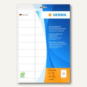 Herma Adress-Etiketten Ecken abgerundet, 67 x 30 mm, 540 St./Pack, 4430