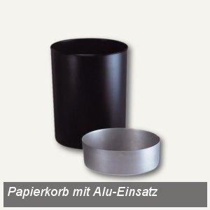 Papierkorb 20 Liter, Polystyrol, flammhemmend mit Alu-Einsatz, schwarz, 1818-S-1