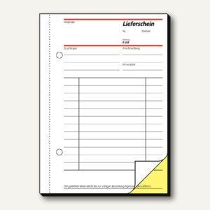 Formular Lieferschein A6 hoch mit Empfangsschein durchschreibend