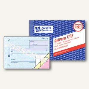 Formular QUITTUNG, MwSt. separat, DIN A6, selbstdurchschreibend, 3x40 Blatt, 173