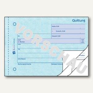 Zweckform Formular QUITTUNG, MwSt. separat, DIN A6, Blaupapier, 3x50 Blatt, 333
