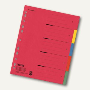 Falken Karton-Register, 5-teilig, DIN A4, Überbreite, 230g/m², farbig, 80002009