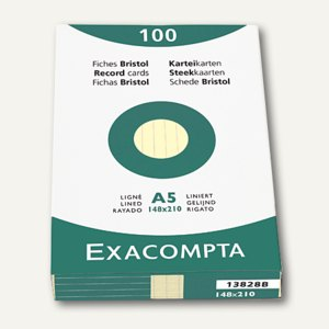 Exacompta Karteikarten DIN A5, liniert, gelb, 100er Pack, 13828B