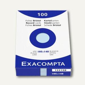 Exacompta Karteikarten DIN A6, blanko, blau, 100er Pack, 13319B