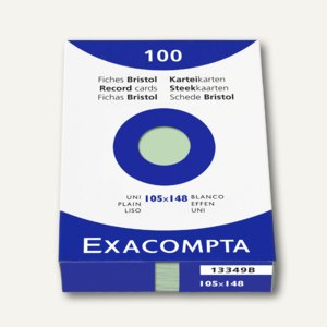 Exacompta Karteikarten DIN A6, blanko, grün, 100er-Pack, 13349B