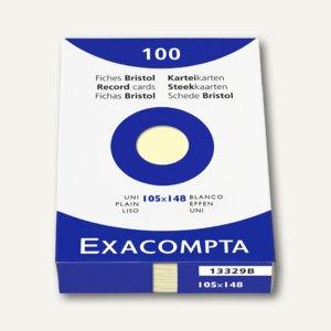 Exacompta Karteikarten DIN A6, blanko, gelb, 100er Pack, 13329B