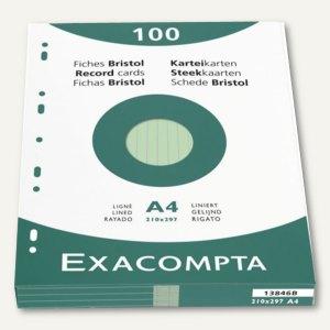 Exacompta Karteikarten DIN A4, liniert, grün, 100 Stück, 13846B