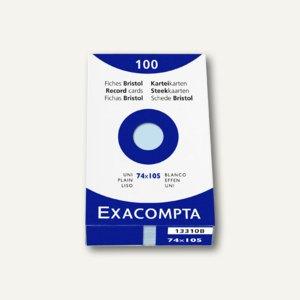 Exacompta Karteikarten DIN A7, blanko, blau, 100 Stück, 13310B