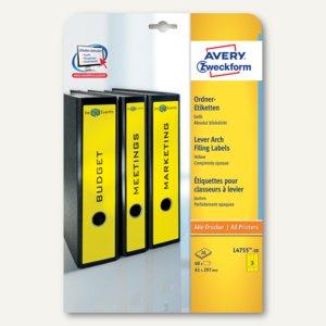 Zweckform Ordnerrücken-Etiketten, breit/lang, 61x297mm, gelb, 60 Stück, L4755-20