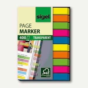 Sigel Haftmarker transparent, 50 x 75 mm, 5 Farben sortiert, 400 Blatt, HN617