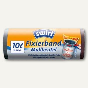 Swirl Müllbeutel 10 Liter mit Fixierband, 15 Stück, 4006508183197