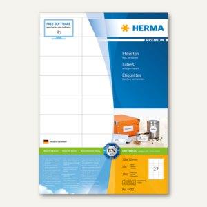 """Herma Etiketten """"Premium"""", DIN A4, 70 x 32 mm, weiß, 2.700 Stück, 4450"""