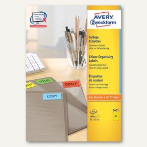 Zweckform Farbige Etiketten, 70 x 37 mm, gelb, 2.400 Etiketten, 3451