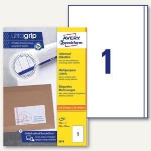 Zweckform Universal-Etiketten, 200 x 297 mm, Rand, weiß, 100 Stück, 3418