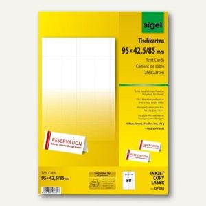 Sigel Tischkarten 95 x 42/85 mm, hochweiß, bedruckbar, 80 Stück, DP046