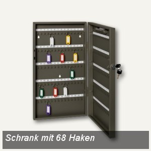 Alco Schlüsselschrank mit 68 Haken, 300 x 390 x 60 mm, lichtgrau, 894