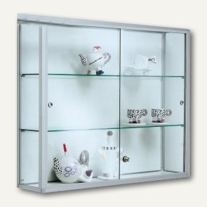 BST Wandvitrine NICE-W4 - 100 x 80 x 20 cm, 2 Böden, silber, NICE-W4