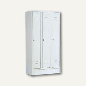 officio Stahl-Reihenspind, 3-türig, 180 x 90 x 50 cm, lichtgrau, 213SM0101