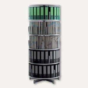 Ordnersäule Rotafile Multifile (H)195 x (Ø)80 cm, 5 Etagen f. 120 Ordner,graphit