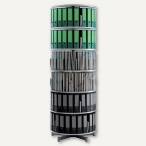 Ordnersäule Rotafile Multifile (H)231 x (Ø)80 cm, 6 Etagen f. 144 Ordner,graphit