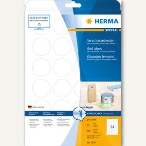 Herma Verschlussetiketten, Ø40 mm, extrem haftend, transp. matt 600 St., 4236