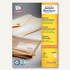 Zweckform Recycling Universal-Etiketten, 105 x 148 mm, 400 Stück, LR3483