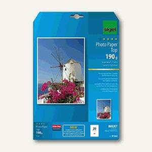 "Sigel Fotopapier ""Top"", DIN A4, 190 g/m², seidenmatt, 20 Blatt, IP684"