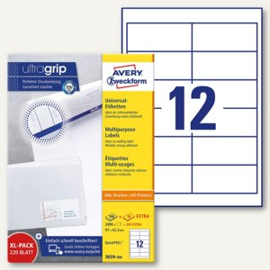 Zweckform Universal-Etiketten, 97 x 42.3 mm, Rand, weiß, 2.400 Stück, 3659-200