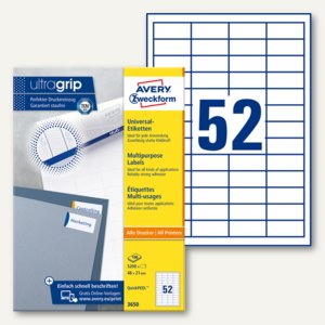 Zweckform Universal-Etiketten, 48 x 21 mm, Rand, weiß, 5.200 Stück, 3650