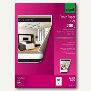 Sigel Fotopapier f. Farb-Laser,DIN A4,2-seitig-glossy,200g/m²,100 Blatt, LP144