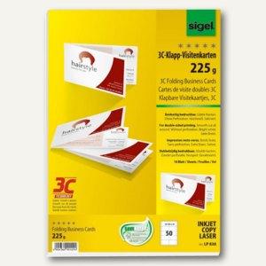 Sigel PC-Klapp-Visitenkarten, DIN A4, 2-seitig bedruckbar, weiß, 50 Stück, LP838