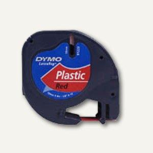 Dymo Etikettenband LetraTag, 12 mm, Plastik, rot, S0721680