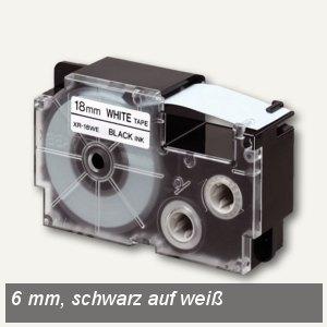 Casio Beschriftungsband 6 mm/8 m, schwarz auf weiß, XR-6WE