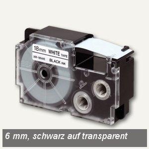 Casio Beschriftungsband 6 mm/8 m, schwarz auf transparent, XR-6X