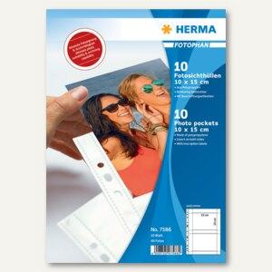 Herma Fotophan-Sichthüllen, 10 x 15 cm quer, 4er, weiß, 10 Hüllen, 7586