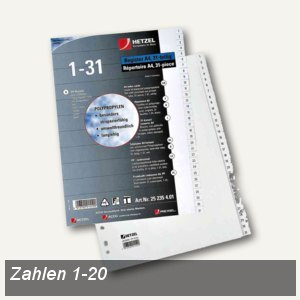 Hetzel Kunststoff-Register, Zahlen 1-20, DIN A4, PP, weiß, 9801252