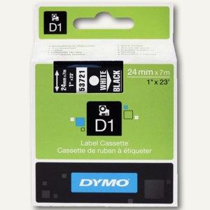 Dymo D1 Schriftband, 24mm x 7m, weiß auf schwarz, S0721010