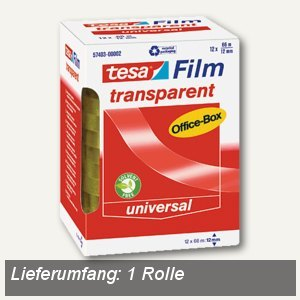 Tesa Film transparent, 66 m x 12 mm, (Ø)76 mm, 57403-00002