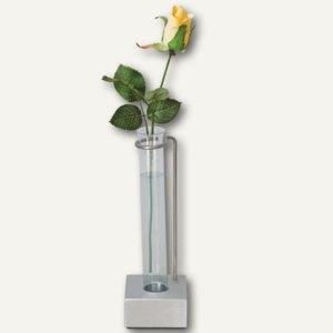 Vase, Drahthalterung mit Reagenzglaseinsatz auf Aluminiumwürfel