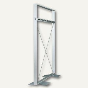 BST Stand-Garderobe OPLA - 1650 x 1650 x 300 mm, zweiseitig, 18 Haken, Aluminium