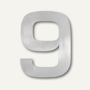 SIGNO - Hausnummer 9 aus geschliffenem Edelstahl