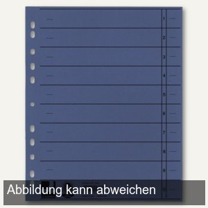 officio Trennblätter für DIN A4, 24 x 30 cm, vollfarbig, 230g/m², blau, 100er