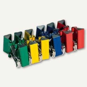 officio Foldback-Klammern, B 41 mm, vernickelt, farbig sortiert, 12er-Pack