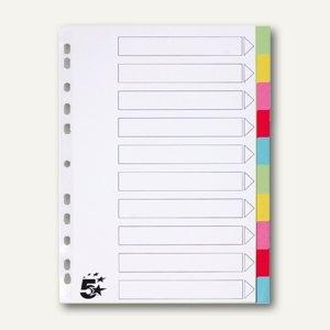 officio Kartonregister, 10-teilig, blanko, DIN A4, 175 g/qm, 5-farbig