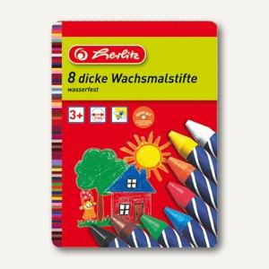 Herlitz Wachsmalstifte wasserfest, sortiert, 8er Etui, 10206712